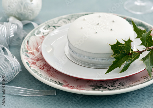 Christmas cake on the blue tablecloth