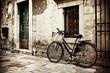 Leinwandbild Motiv Bicycle with a shopping bag