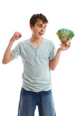 Happy teenager with cash