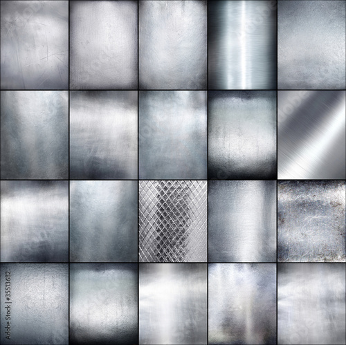Set metal plate steel background.