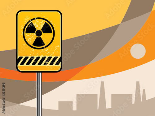 Nuclear danger warning background, vector
