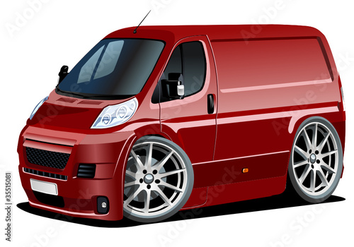 Foto op Canvas Cartoon cars Vector cartoon delivery van