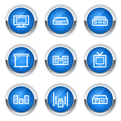 Audio video  web icons, blue buttons