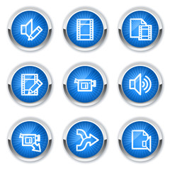 Audio video edit  web icons, blue buttons