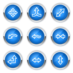 Arrows web icons set 2, blue buttons