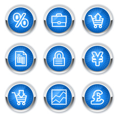 E-business web icons, blue buttons