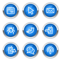 Internet web icons set 2, blue buttons