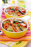 Vegetable casserole with cheese on white background
