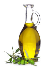 bottle of olive oil with branch olives isolated on white backgro