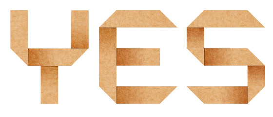 """Yes"" word from Origami paper letters isolated with clipping pat"