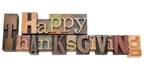 Happy Thanksgiving in letterpress type