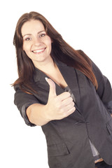 Young businesswoman showing hand ok sign