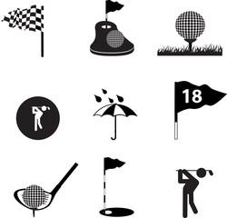 Golf icon set on black