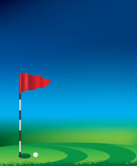 Golf flag and hole