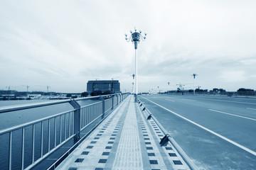 highway bridge metallic baluster and building