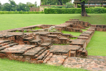 Imprints of ancient rooms in the monastery ruins at Sarnath