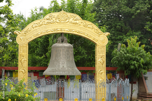 A large beautiful bell at at Mulagandhakuti Vihara temple