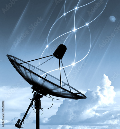 Satellite dish transfer data - cyan tone