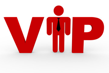 Red 3D text VIP on white. Man replacing i letter.