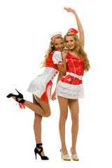 Woman in fansy nurse shape. Halloween and Christmas theme