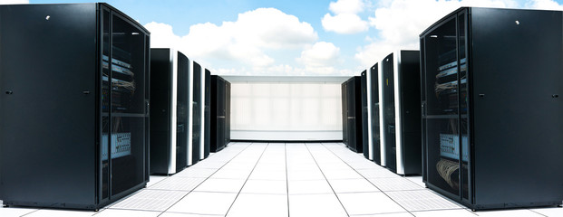 network server room and black servers with blue sky