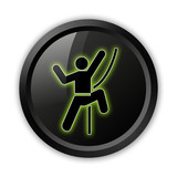 "Black Icon (Green Outlines) ""Rock Climbing"""