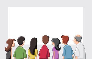 Group cartoon people looking / staring white screen
