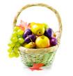 Organic ripe fruits. Isolated on White