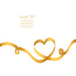 Gold Ribbon Heart 2 Swirls