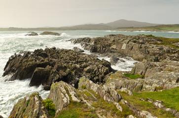 Irish coast with waves in Co. Cork