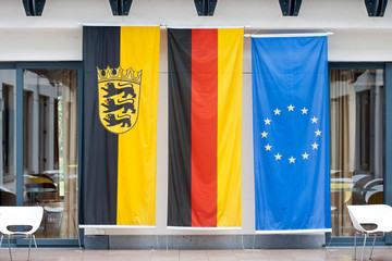 the flags of Europe, Germany and Baden-Wuerrtemberg