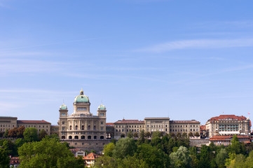 Swiss government building in summer