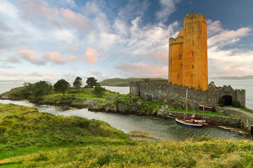 Kilcoe castle on the coast of Co. Cork, Ireland