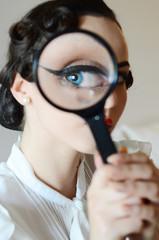 Blue eye in magnifier