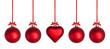 Weihnachtskugeln mit roter Schleife