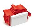 A wrapping red ribbon gift on white