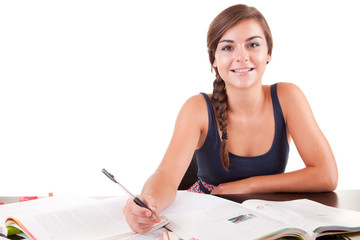 Young woman studing