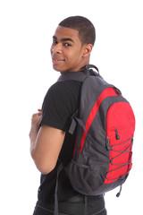 Black teenage student boy school bag on his back