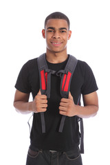 Black teenage student boy wearing school backpack