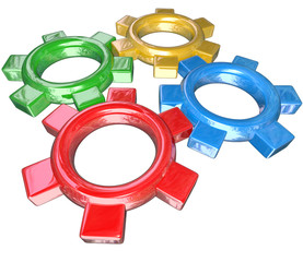 Four Colorful Gears Turning Together in Unison - Teamwork Synerg
