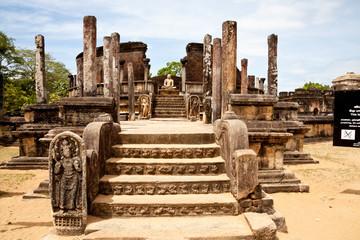 ancient vatadage (buddhist stupa) in polonnaruwa, sri lanka