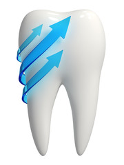 3d white tooth icon - Blue arrows