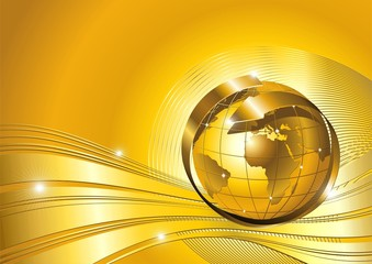 Globo Affari Astratto Oro-World Business Background-Vector