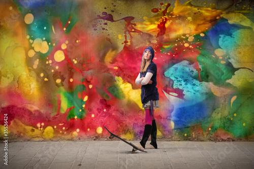 Fototapeten,gestalten,kunst,frau,skateboard