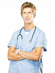 Young doctor isolated on white with a stethoscope