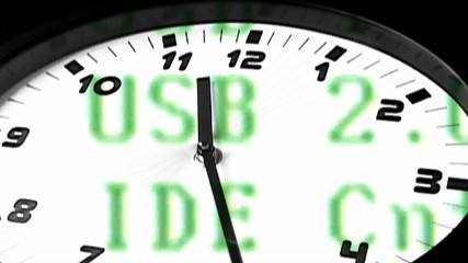 running clock with binary code in the background