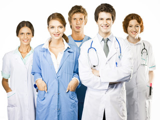 Group of smiling medical on white background