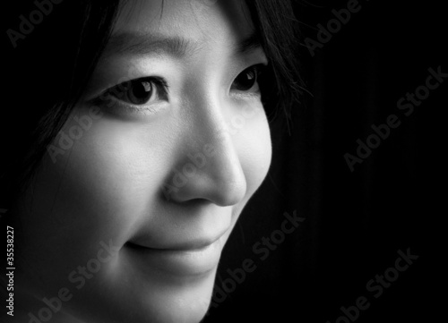 Beautiful eyes of asian women smiling