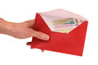 hand hold envelope with money