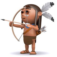 3d Indian Brave shoots his arrow